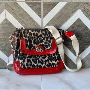 Coach leopard print red swingpack crossbody purse